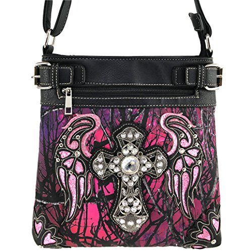 Justin West Angel Wing Cross Rhinestone Studded Camouflage Conceal Carry Cross Body Messenger Bag Purse Wallet (Purple (Studded Cross Messenger)