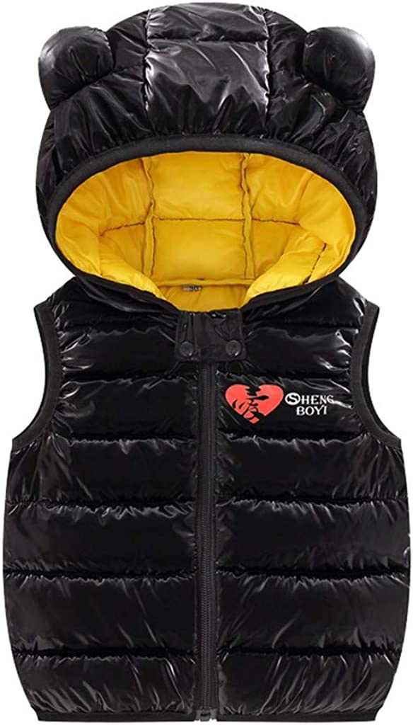 Amaone Baby Gilets 6Months-4Years Old Girls Boys Sleeveless Toddler Gilets Warm Solid Color Heart Print Bear Ears Hooded Zip Kids Unisex Waistcoat Black,6-12 Months
