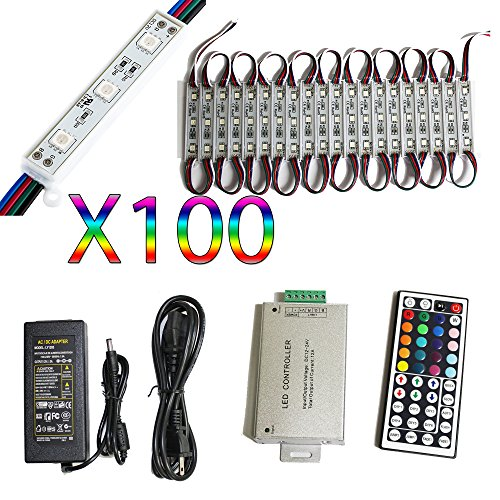 LED4Everything 50ft 3 LED 5050 SMD RGB Module 100pcs Kit Set Waterproof Light Strip Lamp DC 12V for Sign Design Business Store Front