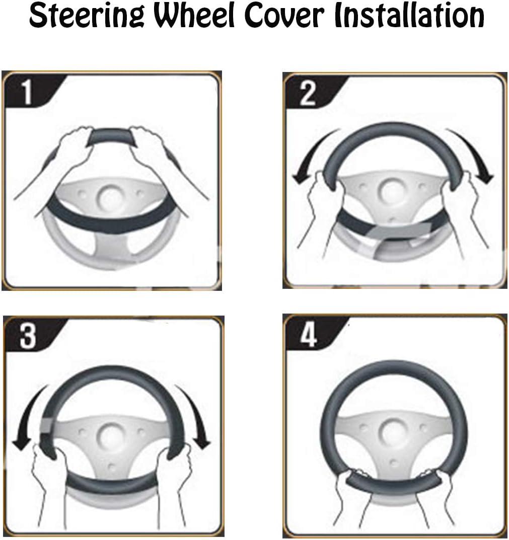 Black /& White Topfit Auto Car Leather Steering Wheel Covers Compatible Tesla Model 3