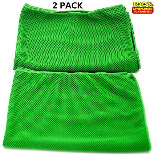 Prettygoal Cooling Towel, 2-Pack (12'' × 39'') Super Absorbent Sports Towel for Workout, Fitness, Gym, Yoga, Travel, Camping and More (Green) by Prettygoal