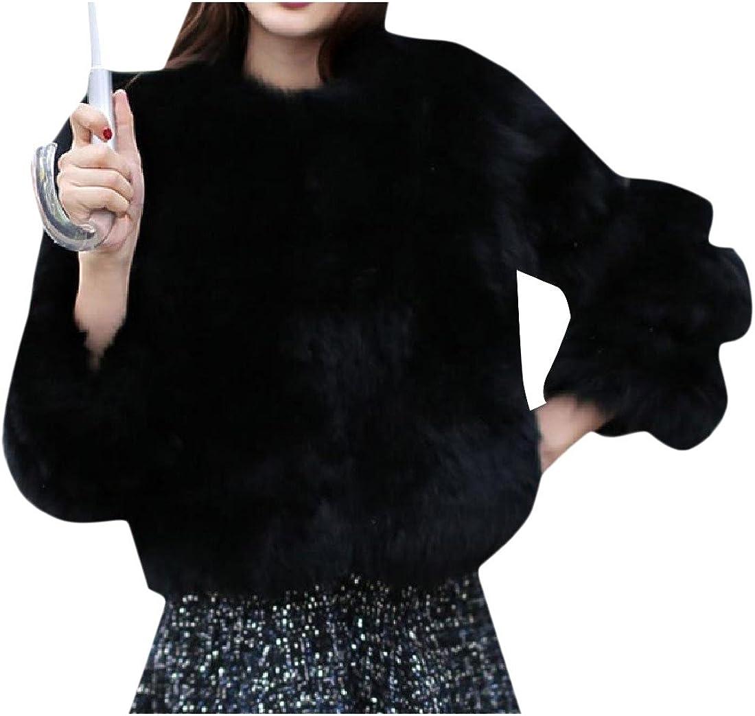 Abetteric Women Custom Fit Pure Color Faux Fur Winter Warm Tops Outwear