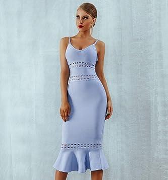 JJHR sukienka letnia kobiety niebieski bandaż sukienka spaghetti pasek Midi Club wycięcie w kształcie V wydrążona Celebrity wieczÓr impreza sukienka: Sport & Freizeit