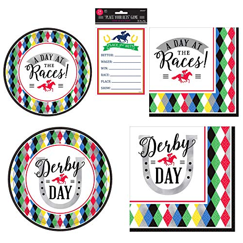 Amscan Derby Day Horse Racing Party Bundle | Luncheon & Beverage Napkins, Dinner & Dessert Plates, Betting Sheets | Great for Sports Themed Party, Horse Race & Derby Event]()