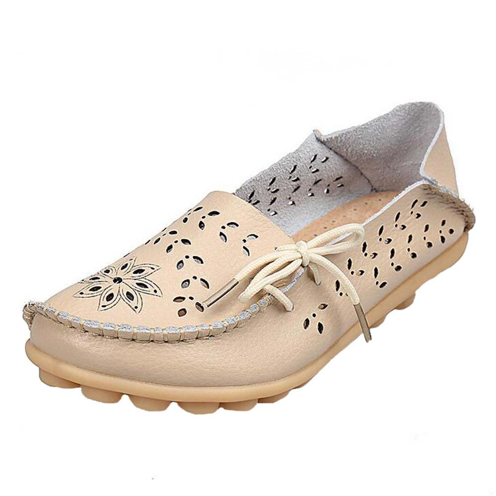 Angelliu Women Casual Hollow Autumn Spring Leather Doug Flats Moms Shoes Loafers Beige US 9