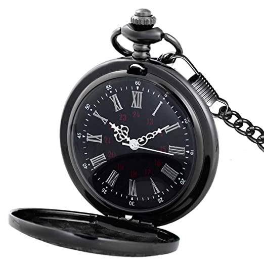 ac9bb55d9 Image Unavailable. Image not available for. Color: MJSCPHBJK Black Pocket  Watch Roman Pattern Steampunk ...