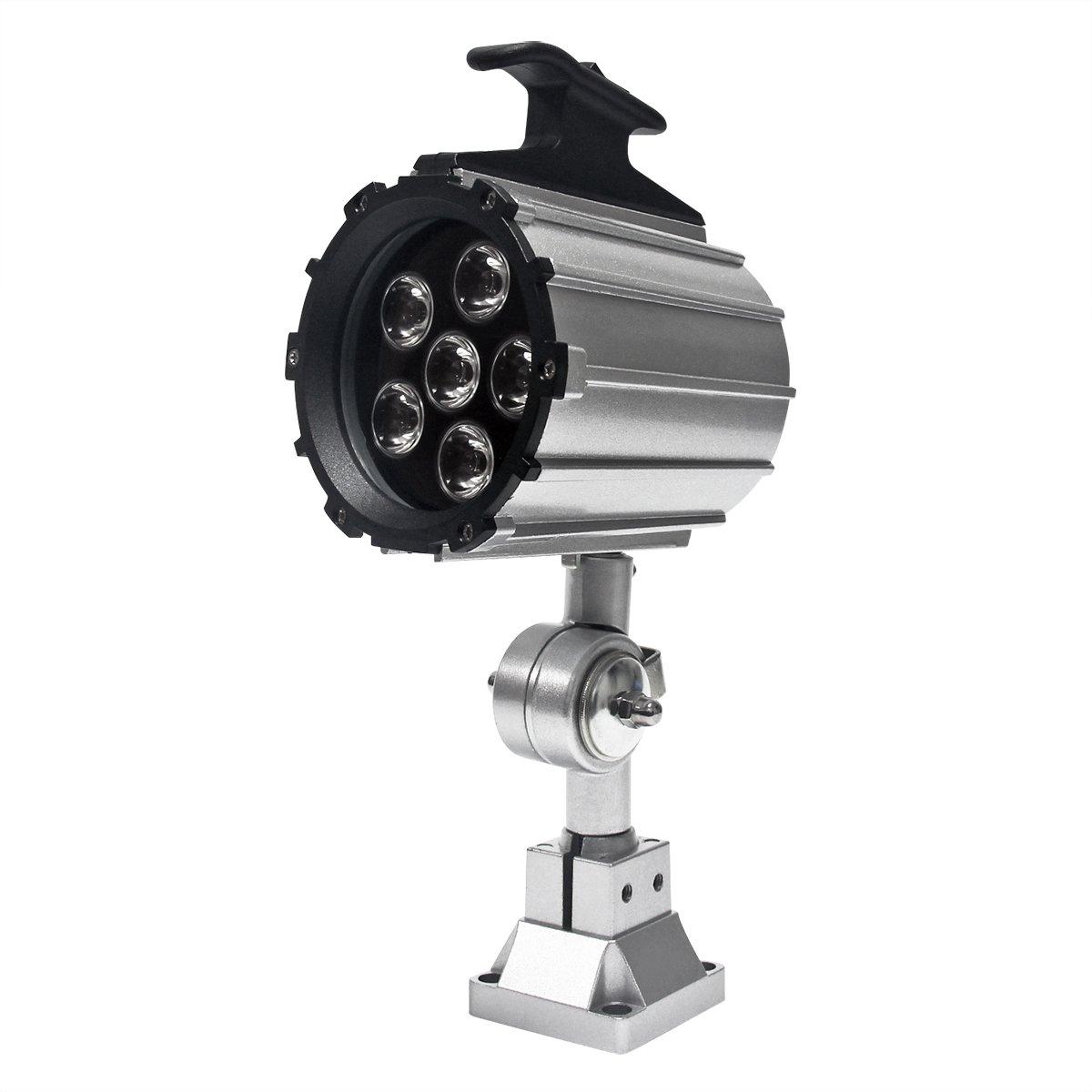 Wisamic LED Work Light for Lathe, CNC Milling Machine, Drilling Machine, Aluminum Alloy, 12W 110V-220V, Adjustable Multipurpose Worklight Short Arm