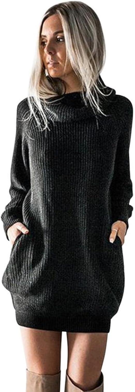 POPLY Damen Pulloverkleid Elegant Strick Cocktailkleid Midi V-Ausschnitt Langarm R/ückenfrei Partykleid Strickpullover Mit G/ürtel Knitwear