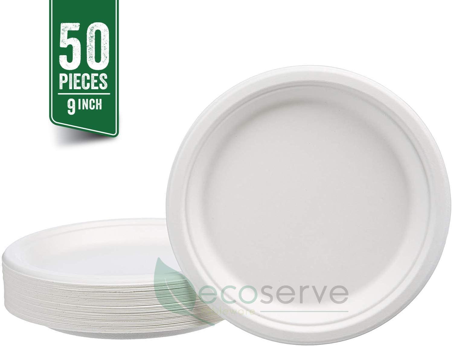 Canne /à sucre 3 compartment 50Pcs 9 po Ecoserve Lot de 50 assiettes jetables super rigides en papier blanc biod/égradable et compostable alternative en plastique et plastique
