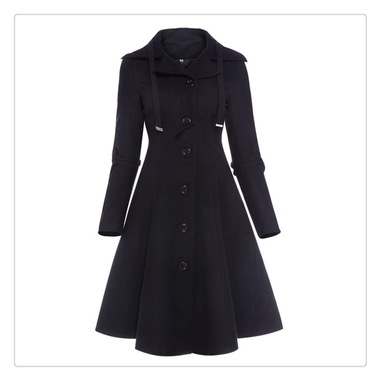 2e76bf8a Uciquzhon Women Coat Autumn Black Vintage Gothic a line Elegant Winter  Asymmetric Overcoat Goth lace up