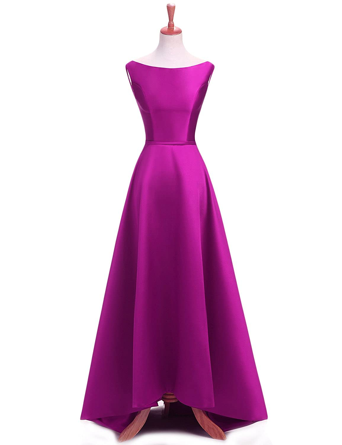Fuchsia YSMei Women's Long Aline Prom Dress Sleeveless Satin Ball Gown with Corset Back ON055