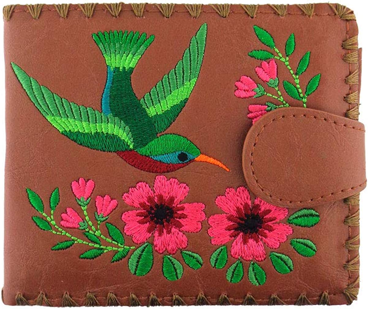 LAVISHY Embroidered Love Hummingbirds & Flower Vegan/Faux Leather Bifold Medium Wallet