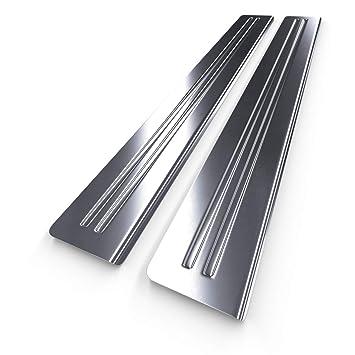 Protectores de acero para umbral de coche - plata - mate - kit de 2 piezas - 5902538682978: Amazon.es: Coche y moto