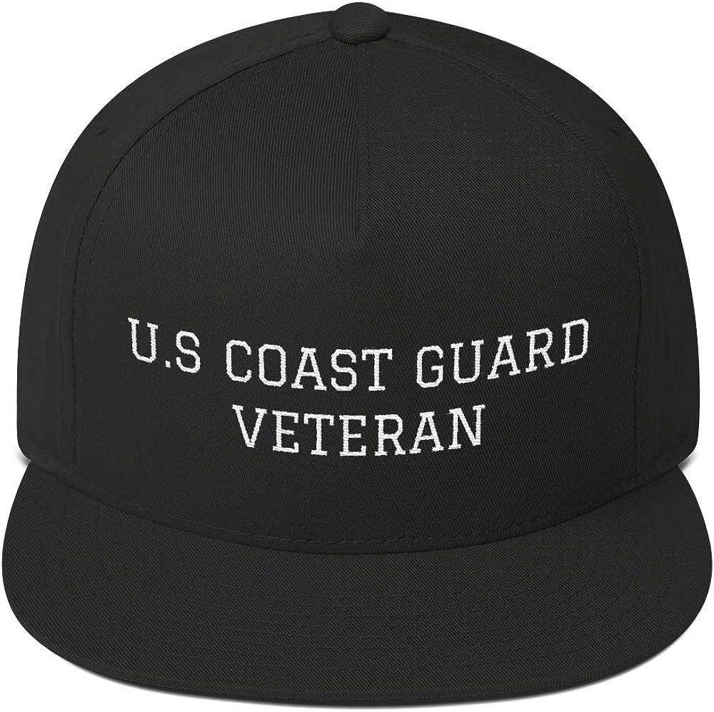 US Coast Guard Proud Veteran 5 Panel Embroidered Snapback Hat Flat Bill Cap Gift