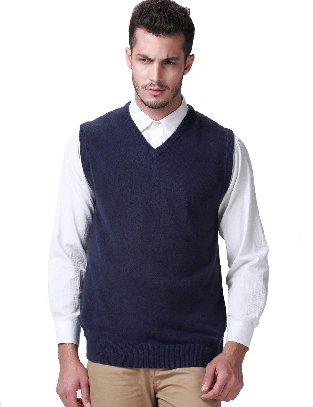 SSLR Men's Candy Color Sweater Vest Pullover