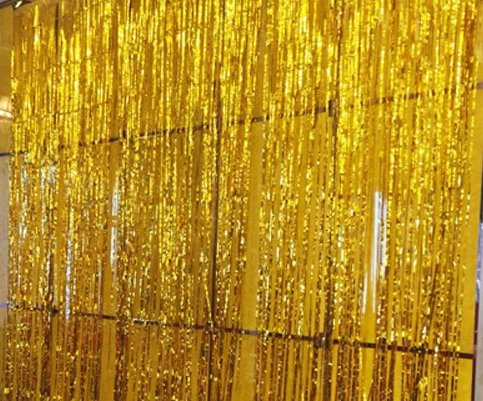 Gold Foil Fringe Curtains Photo Booth Backdrop Wedding Decor 3.2ft x 9.8ft, Pack of 2 (Long Tinsel)