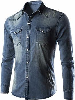 beautyjourney Camisa de Mezclilla de los Hombres Camisa Retro de Manga Larga en Denim Camisa Casual de Vaquero de Color Liso Camisa Larga Delgada Tops: Amazon.es: Ropa y accesorios