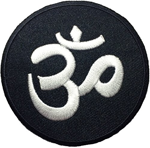 Aum Om Infinity Hindu Hindi Hinduism Yoga Indian Trance Sew Iron on Embroidered Patch - Black
