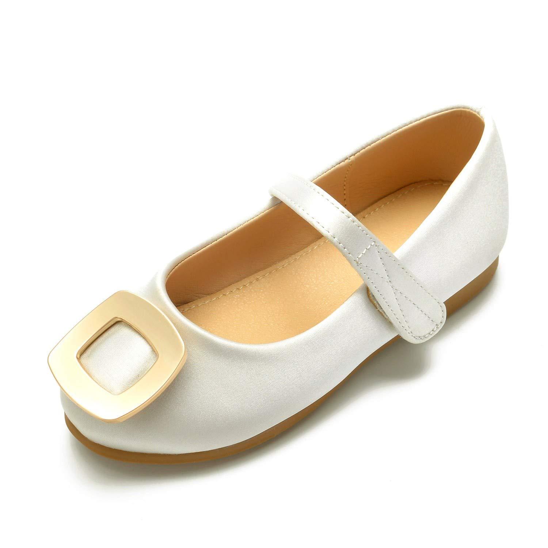 Zxstz Chaussures pour Filles en Dentelle Cheville Comfort Ballerina Chaussures de mariée à Bride de Cheville Dentelle Boucle Crochet et Boucle pour Argent 32|Ivoire 6a1597