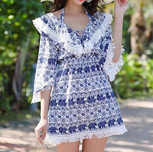 a a bagno Beach in Swimsuit M vita alta bagno vintage stile intimo a da donna da Blu bikini di da forma Skirt stampato HOMEE fascia Costume zwPzq