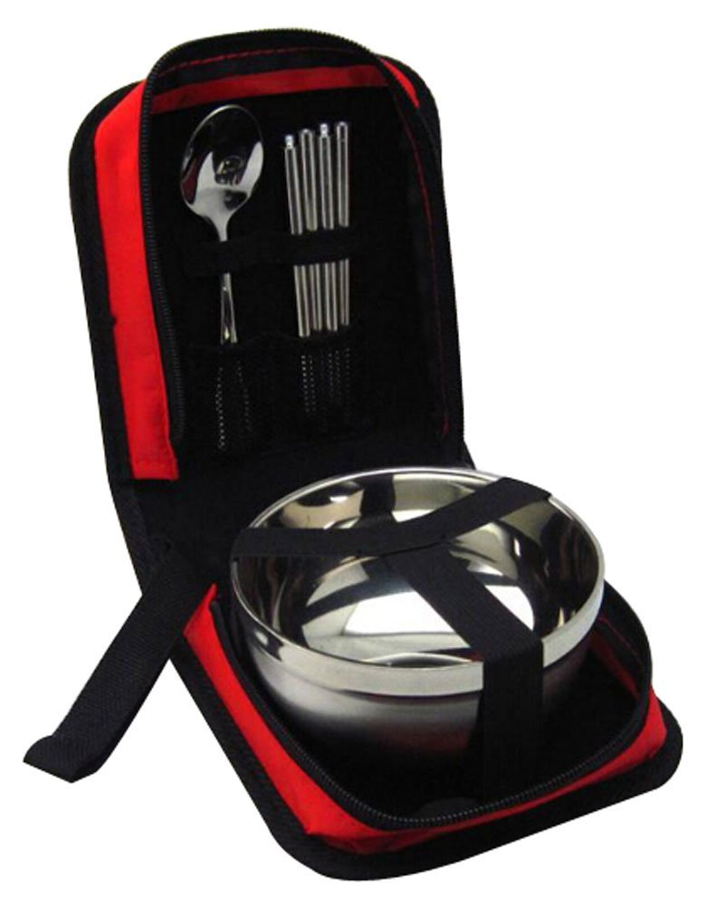Alien Storehouse Camping Cooking Outdoor Travel Bag Tableware Stainless Red by Alien Storehouse