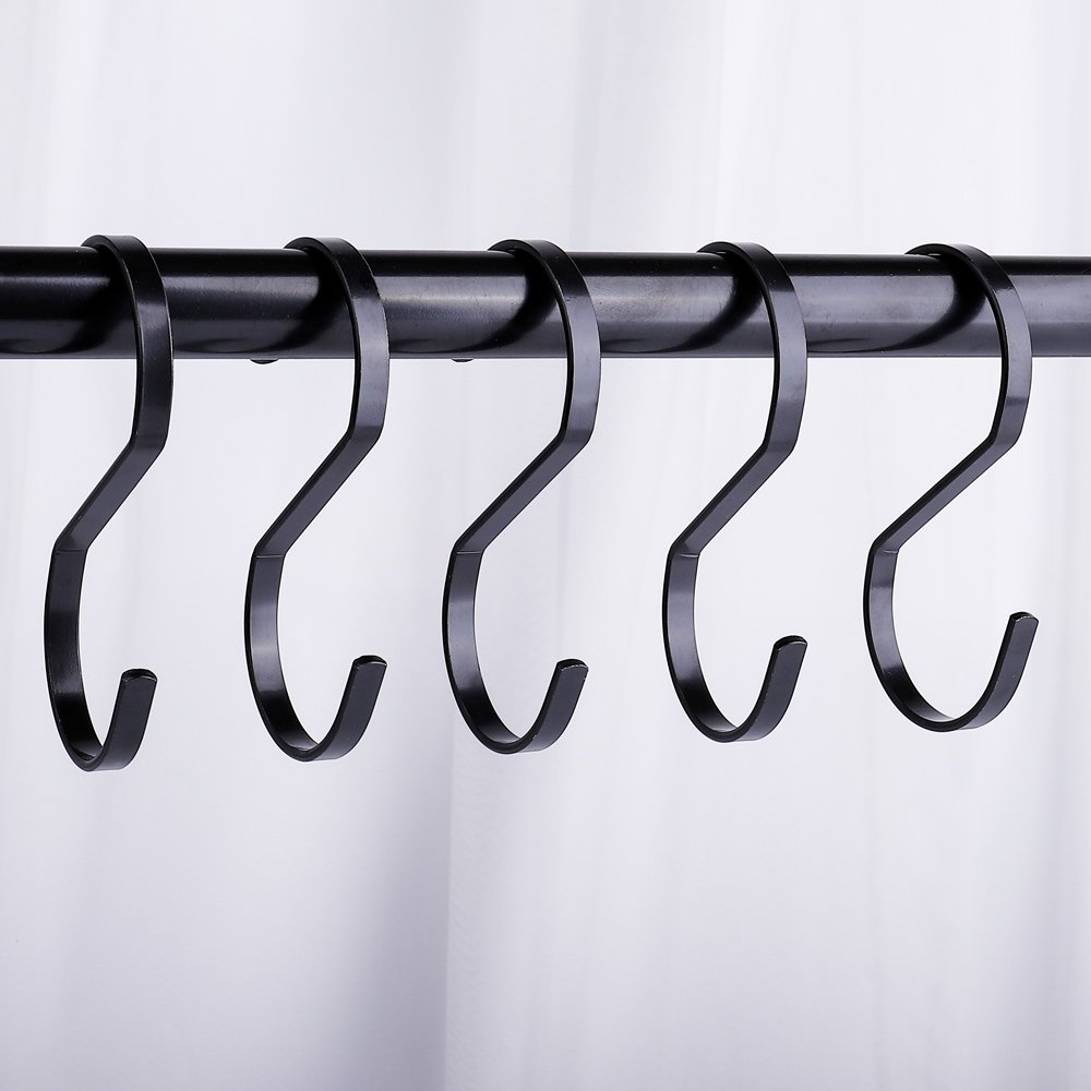 Black S Hooks Large Heavy Duty Outdoor S Hooks for Hanging Plants Clothes S Hooks for Hanging Pots and Pans for Closet Rod S Shaped Hooks 10 Pack 4 in