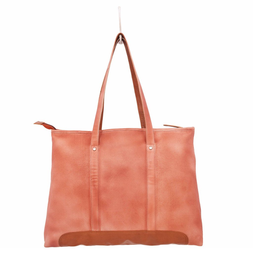Latico Leathers Rivington Tote Genuine Authentic Luxury Leather, Designer Made, Business Fashion and Casual Wear, Washed Red