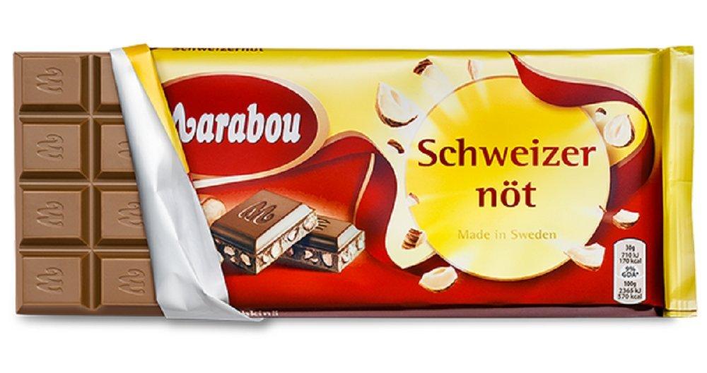 Marabou Chopped Hazelnuts Original Swedish Milk Chocolate Schweizernöt Bar 200g. By Kraft Foods