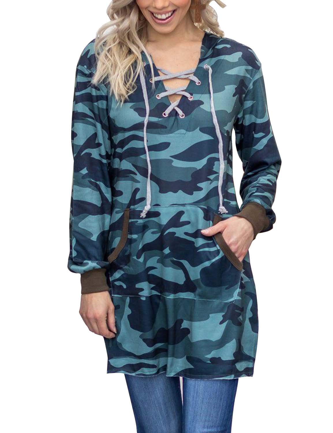 BMJL Women's V Neck Longline Contrast Color Hoodie Camouflage Print Tunic Top