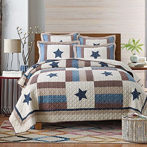 Babycare Pro Star Print Euro Style Quilt Sets Queen Size Cotton Quilted Bedspread Sets Coverlet Patchwork Bedding Sets 3 Pieces, 1 Quilt Cover, 2 Pillowcase (Queen, Euro Star)