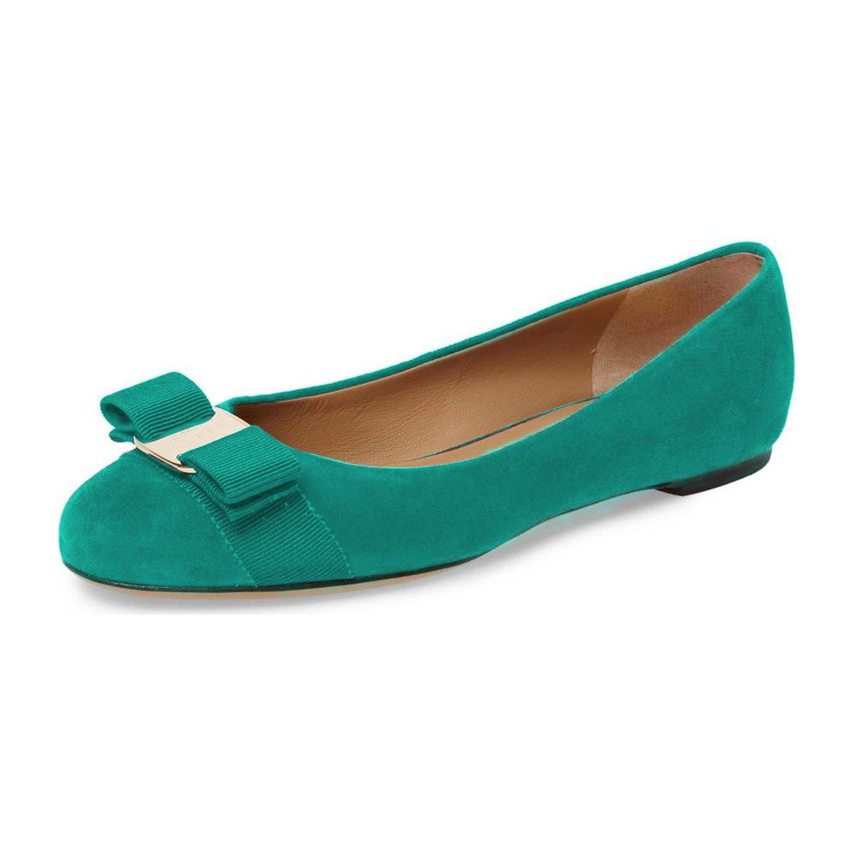 FSJ Women Cute Bowknot Round Toe Ballet Flats Slip On Casual Office Comfy Pumps Shoes Size 4-15 US B077P7XC17 8.5 B(M) US|Sea Green