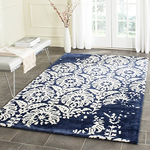Safavieh Bella Collection BEL125D Handmade Navy and Ivory Premium Wool Area Rug 6 x 9