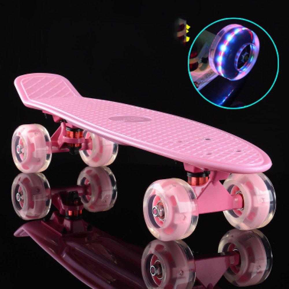 CZZ Bxh Gioventù Skateboard per Adulti Bambini Principianti Ragazzi e Ragazze Strada Pennello Strada Scooter a Quattro Ruote,H,Skateboard