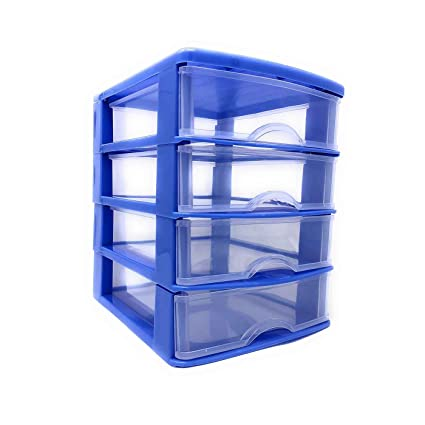 Cajonera organizador de plástico 4 cajones Azul 22.5 x 21.5 ...