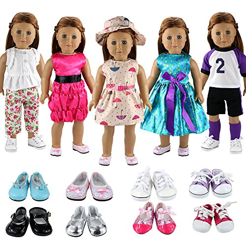 Barwa 5 Sets Clothes Dress Outfits with Accessories and 2 Pairs Shoes for 18 Inch American Girl Doll by Barwa