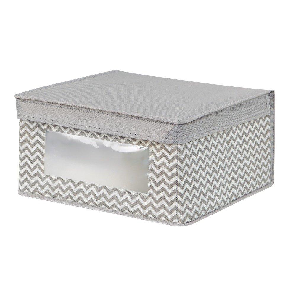 InterDesign Chevron Fabric Closet Organizer Box – Soft Storage Bin for Clothing, Shoes, Handbags, Linen - Medium, Taupe/Natural 4271