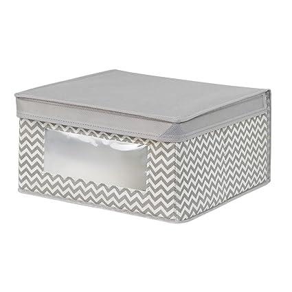 InterDesign Axis Cajas organizadoras con Tapa para Ropa o Zapatos, Cajas de almacenaje Medianas de