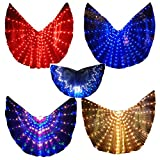 LED IsIs Wings Glow Light up Belly Dance Club Costumes Sticks Bag Performance Clothing (White)