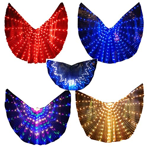 LED Isis Wings Glow Light Up Belly Dance Costumes with Sticks Performance Clothing Carnival Halloween Blue -