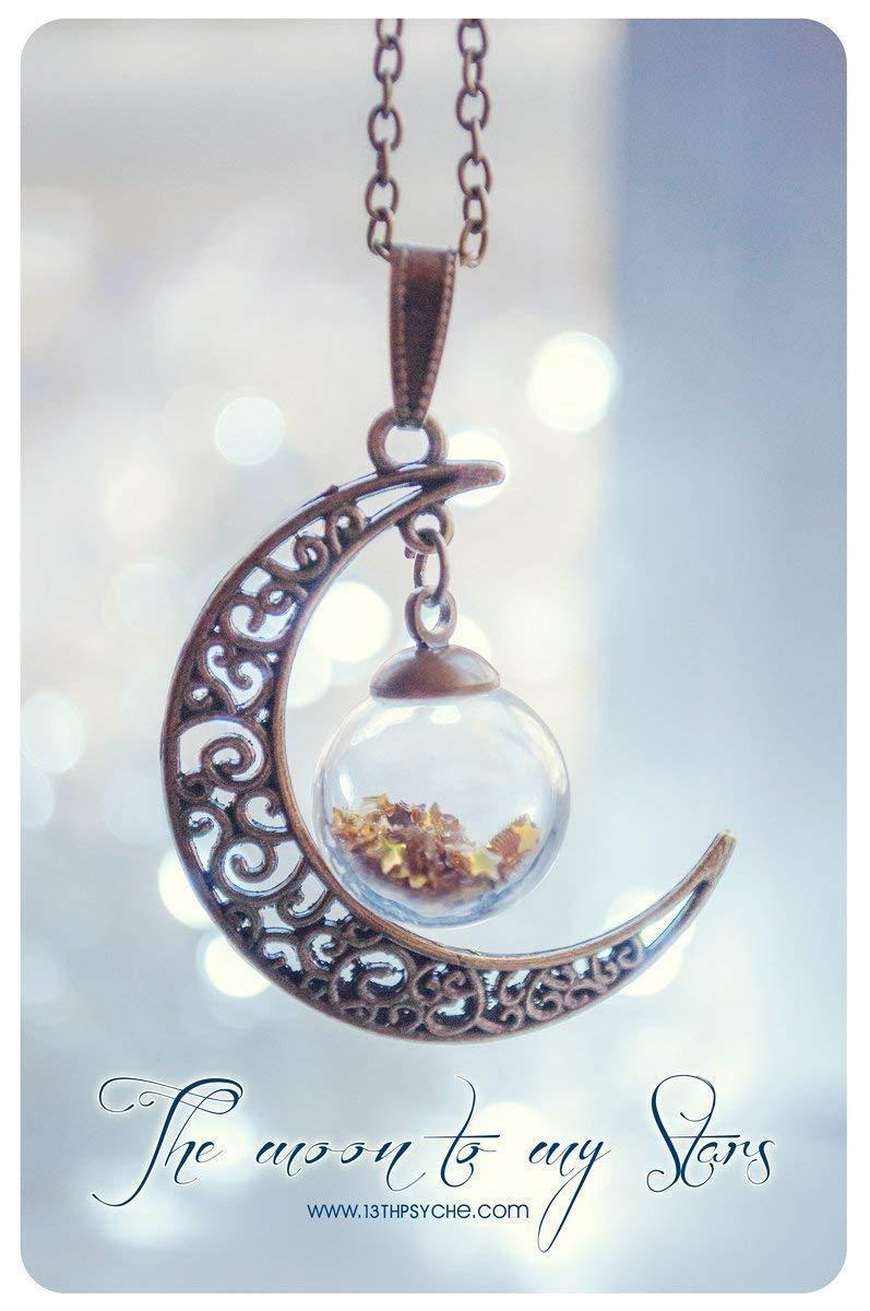 Colgante de Luna con esfera de cristal y estrellas de brillantina. Color de estrellas personalizable, Collar de luna, Botella de cristal, collar galaxia, ...