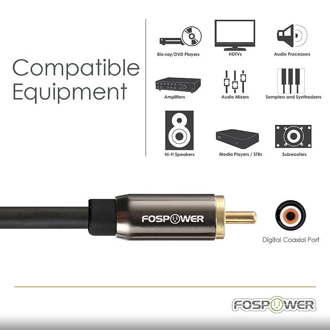 Cable coaxial de Audio Digital FosPower (7,5m/25ft) [Conectores chapados en Oro DE 24 Quilates] Mástil RCA S/PDIF Superior a Macho RCA para Cine en casa, ...