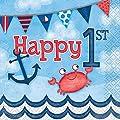 Nautical Boys 1st Birthday Napkins, 16ct