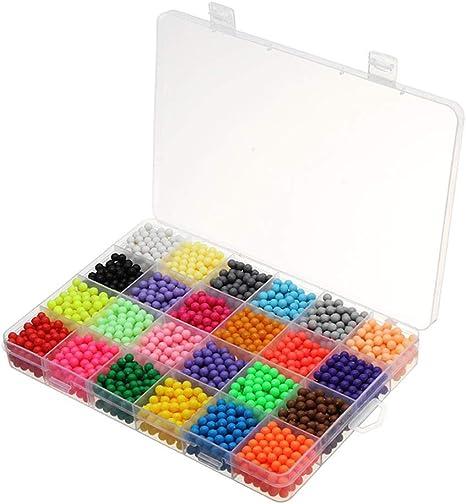 Fuse Beads Kit, 3d Fuse Beads 24-Color Juguetes educativos para niños Bricolaje Water Magic Beads Juego de rocío de agua en perlas Rompecabezas sobre 3000 Beads Juguetes educativos para niños: Amazon.es: Bebé