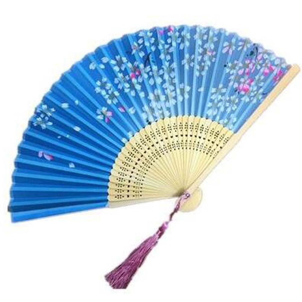 Panda Superstore Aya Silk Folding Fan Handheld Folding Fan Chinese/Japanese Silk Handheld Fan