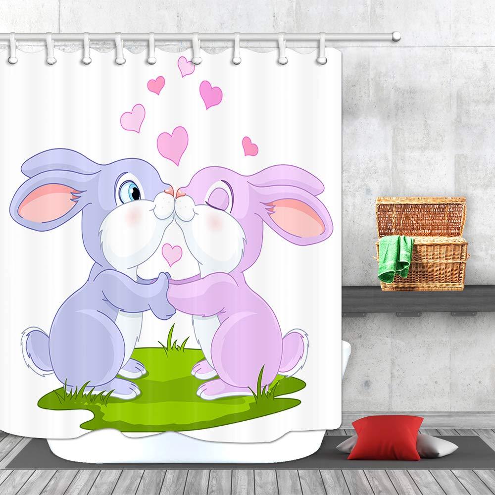Waterproof 69x70Inches AWO Cartoon Mermaid Shower Curtain Mermaid Girl on Unicorn with Rainbow Tail Fabric Bathroom Curtain and Hooks