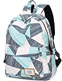 Water Resistant School Backpack for Teens, Cute Geometry Laptop Bag Girls Bookbag Travel Rucksack Casual Daypack Handbag (Water Blue)