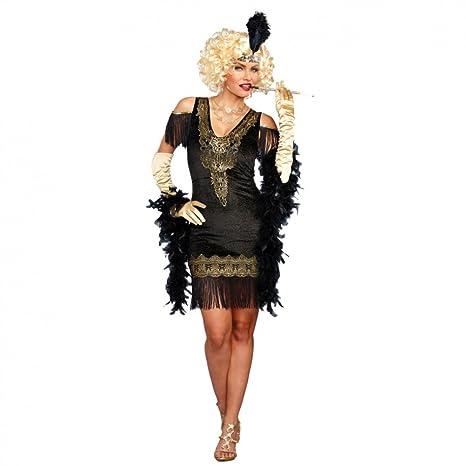 DreamGirl Disfraz de Charleston para Mujer Vestido Negro/Dorado ...