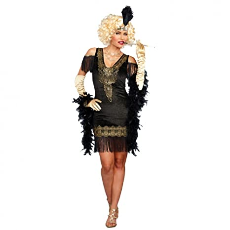 DreamGirl Disfraz Charleston Flappy M Vestido Negro-Oro 20s Fiesta ...