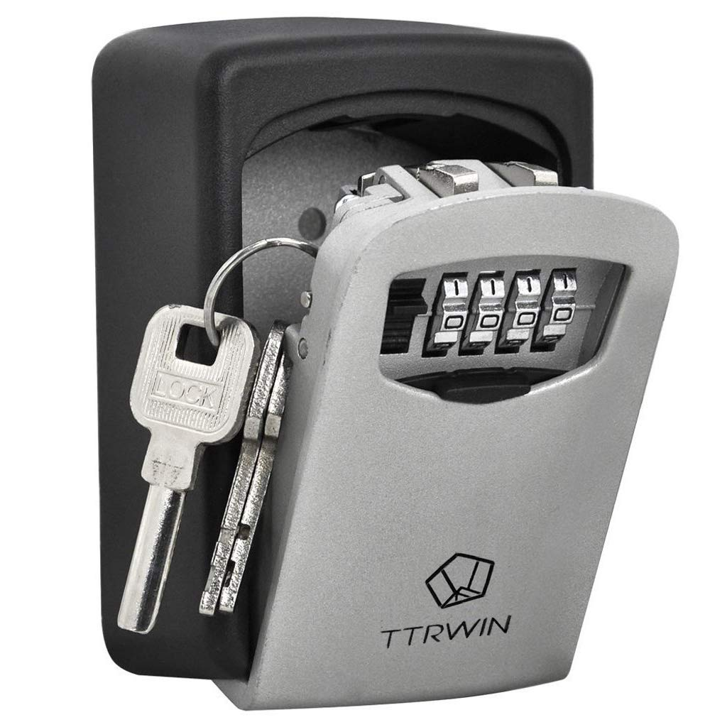 TTRwin Key Lock Box-Key Safe Box Wall Mounted 4 Digit Weather Resistant Key Storage Box for Indoors or Outdoors Holds up to 5 Keys Secure Box Keys Holder by TTRWIN