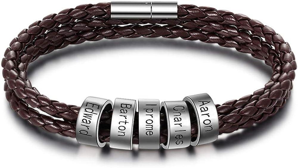 Iprome Custom Bracelet Personalized Men Braid Bracelet for Men with Small Custom Beads Mens ID Bracelet